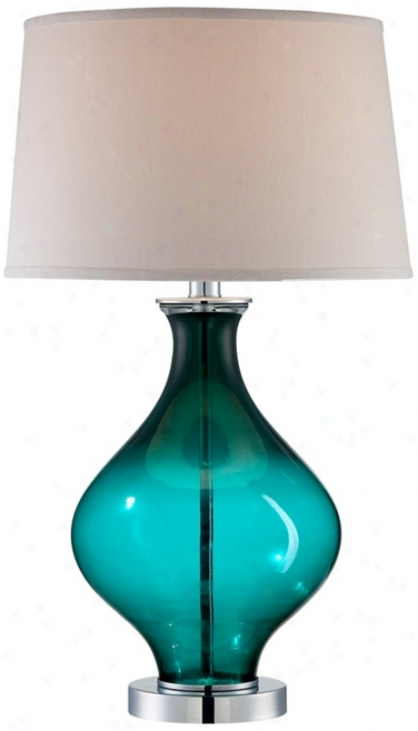 Teal Blue Glass Decanter Table Lamp (t4352)