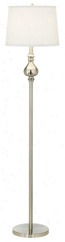 Teardrop Neck White Linen Shade Floor Lamp (j5710)