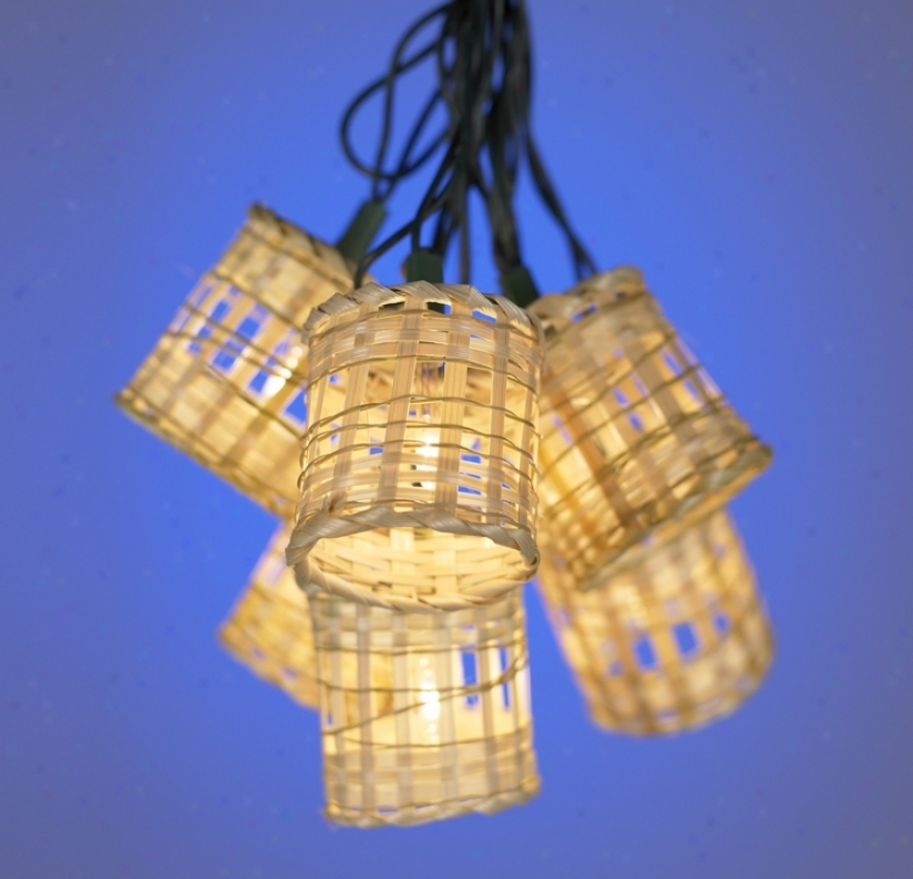 Ten Light Bamboo Lantern Party Light Set (86766)