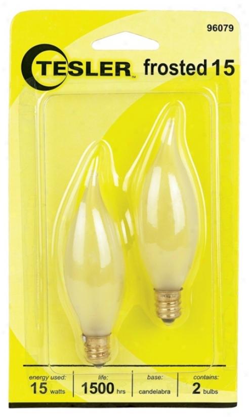 Tesler 15 Watt 2-pack Frosted Bent Tip Candelabra Bulbs (96079)