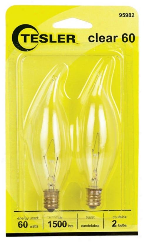 Tesler 60 Watt 2-pack Bent Top Candelabra Light Bulbs (95982)