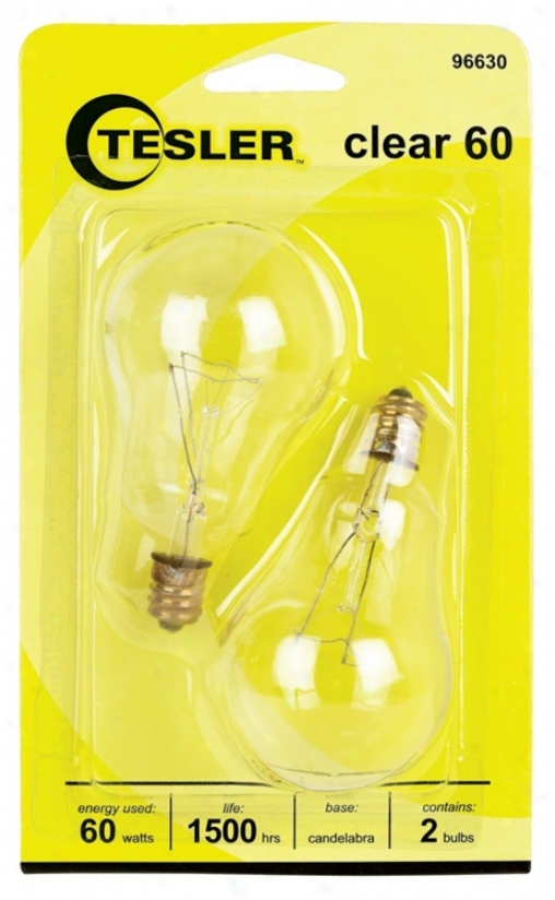 Tesler 60 Watt 2-pack Ciear Ceiling Fan Candelabra Bulbs (96630)