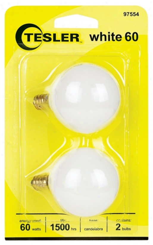 Tesler 60 Watt 2-pack G16 1/2 White Candelabra Light Bulbs (97554)