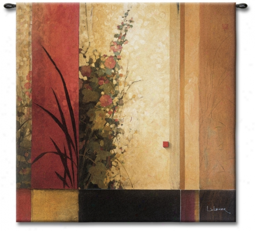 "The Hollyhock Garden Large 53"" Wide Wall Tapestry (j8884)"