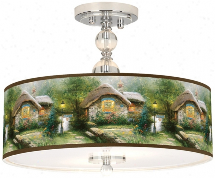 "Thomas Kinkade Collector Cottage 16"" Ceilin gLight (n7956-w7123)"