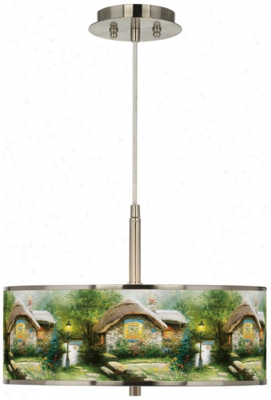 "Thomas Kinkade Collector Cottage 16"" Giclee Glow Pendant (t6341-w7287)"