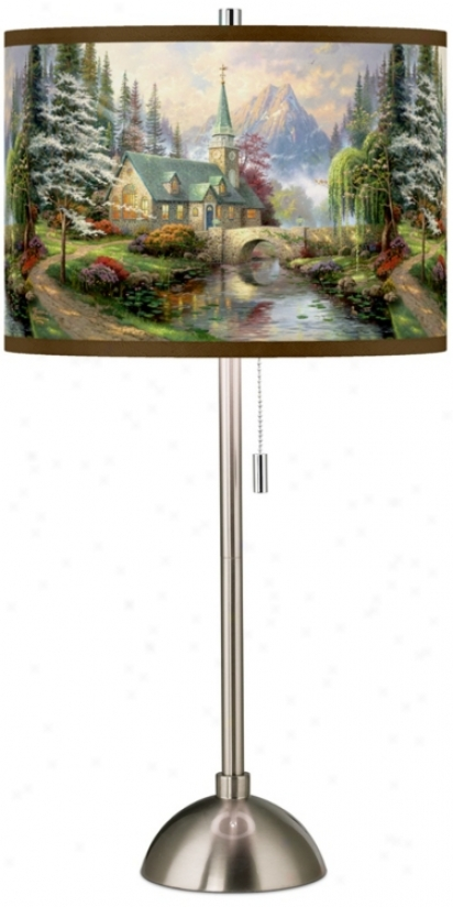 Thomas Kinkade Dogwood Chapel Giclee Shade Slab Lamp (60757-w6931)