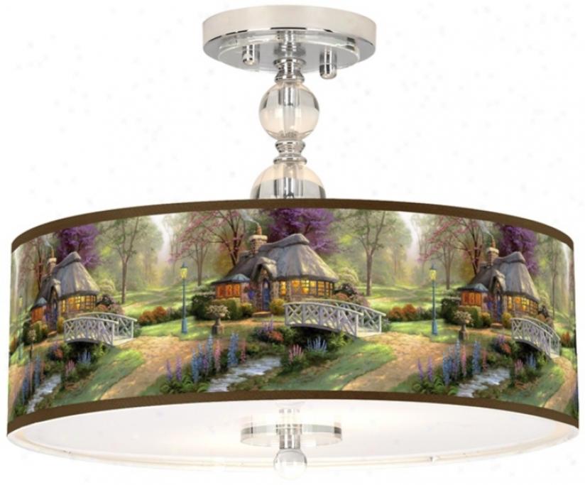 "Thomas Kinkade Friendship Cottage 16""-Ceiling Light (n7956-w7137)"