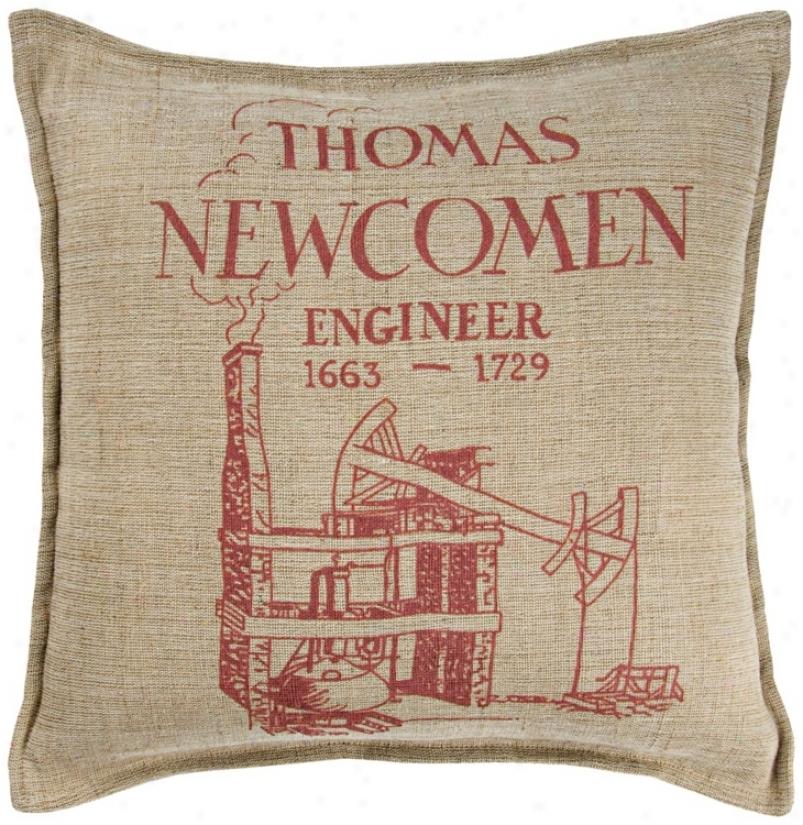 """Thomas Newcomen 18"""" Square Beige Throw Pillow (v8550)"""