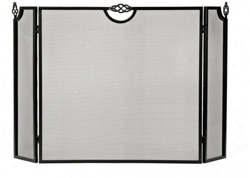 Three-fold Black Celtic Design Fireplace Screen (u9305)