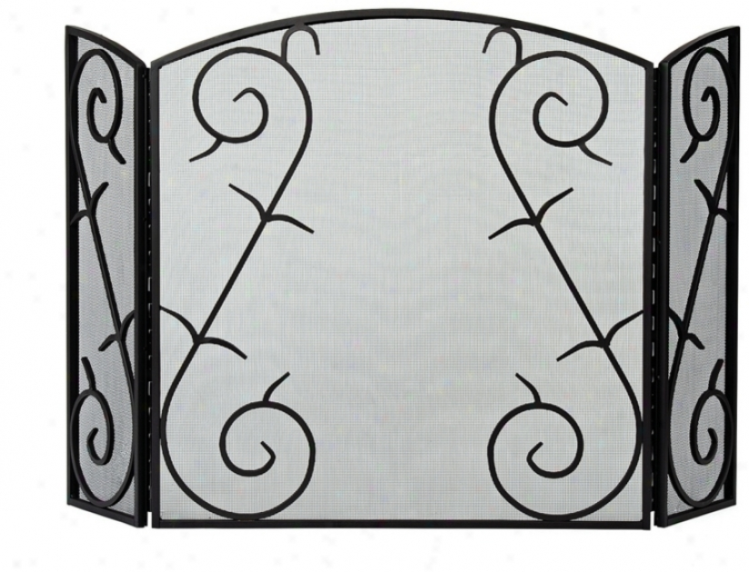 Three-foold Plain & Fancy Iii Wicked Fireplace Screen (u9495)