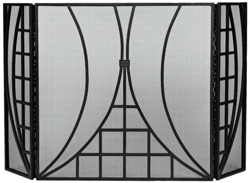 Three-fold Plain & Fancy Iv Black Fireplace Screen (uu9496)