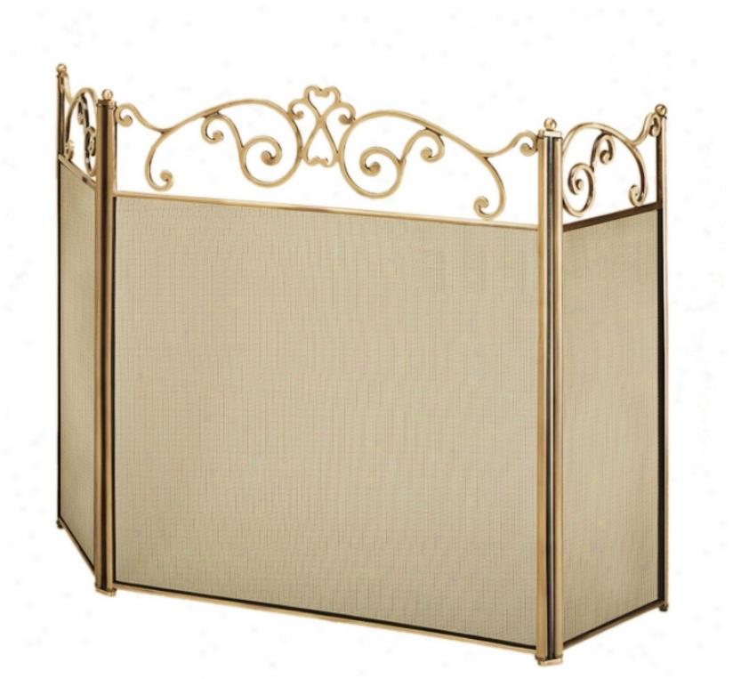 Three-fold Scroll Top Brass Fireplace Screen (u9505)
