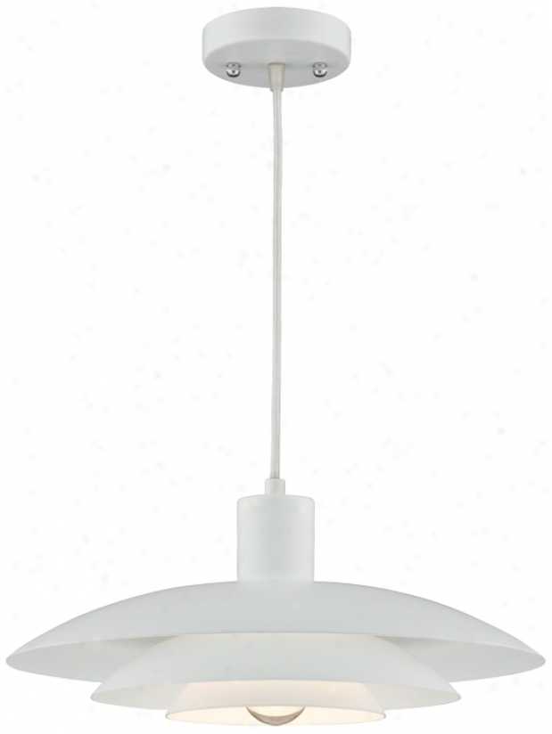 "Three-tier Shade Downlite 14"" Wide White Pendant Light (u0702)"