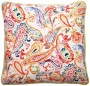 "Bali Bright Paisley 18"" Square Linen Throw Pillow (t6108)"
