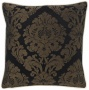 "Black Rosette Damask 18"" Square Pillow (g2965)"