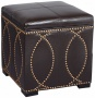 Darl Brown Faux Leather Upholstered Storage Cube Ottoman (u4614)