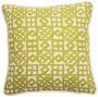 "Modeen Lattice Green And Natural 18"" Square Throw Pillow (t6209)"