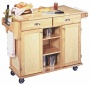 Napa Solid Wood Natural Finish Rolling Kitchen Center (u0391)