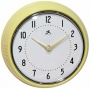 "Retr oYellow Metal 9 1/2"" Round Wall Clock (w0978)"