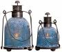 Set Of 2 Blue Mosaic Glass Taper Lanterns (w2984)