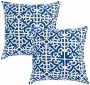 Seet Of 2 Indigo Blue Outdoor Accent Pillows (w6207)