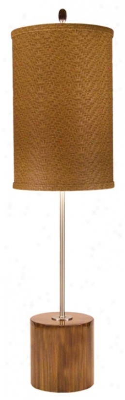 Thumprints Acacia With Faux Leather Shade Table Lamp (m6938)