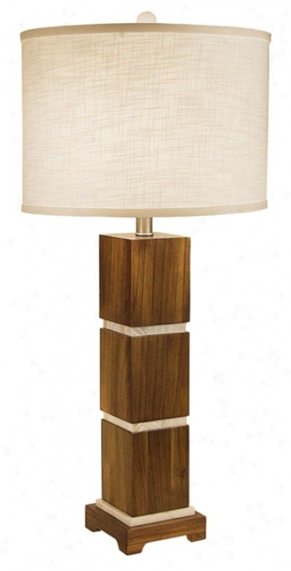 Thumprints Bali With White Round Shade Table Lamp (m6943)
