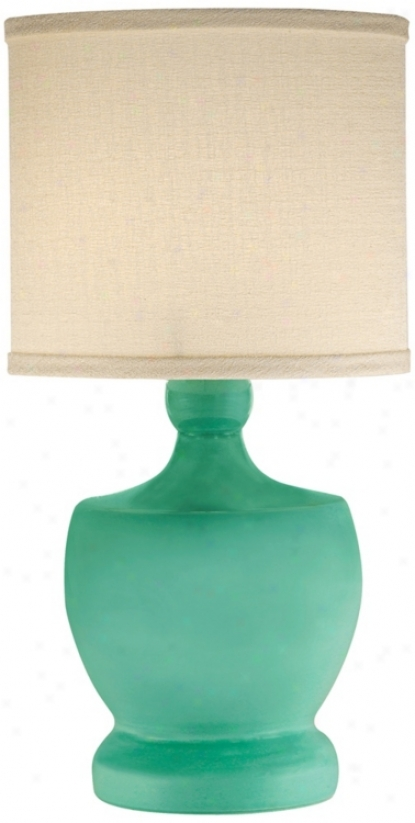 Thumprints Fleur-de-lis Seafoam Mini Table Lamp (v7304)