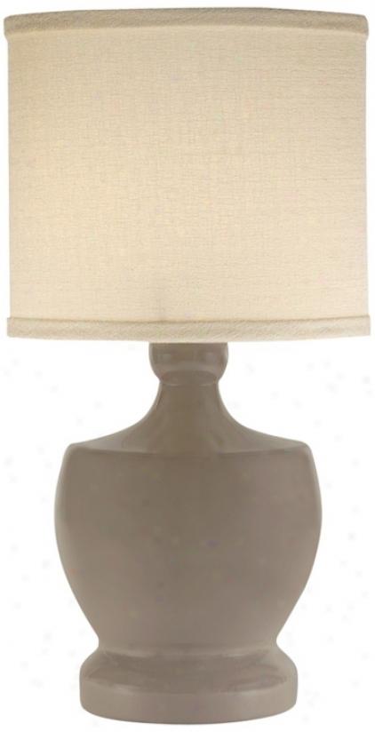 Thumprints Fleur-de-lis Warm Grey Mini Table Lamp (v7311)