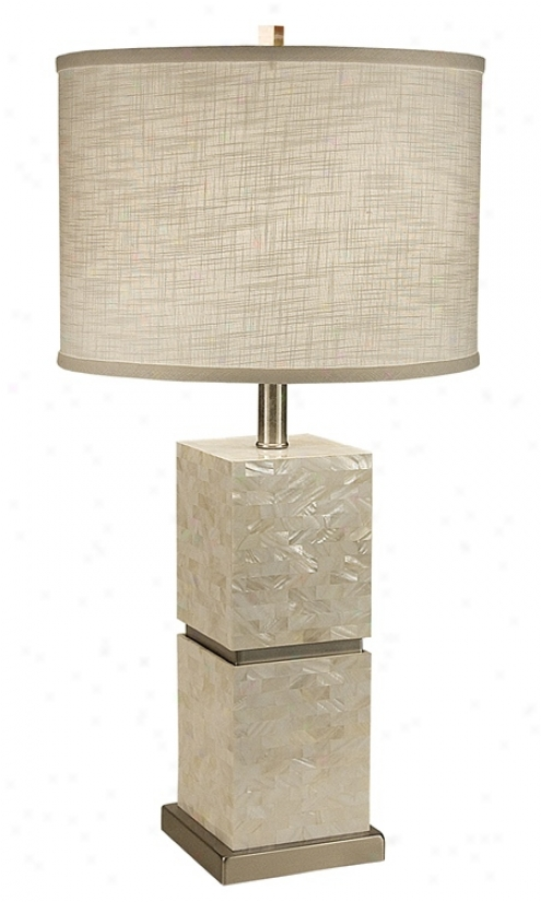 Thumprints Seaside With White Round Shade Table Lamp (m6968)