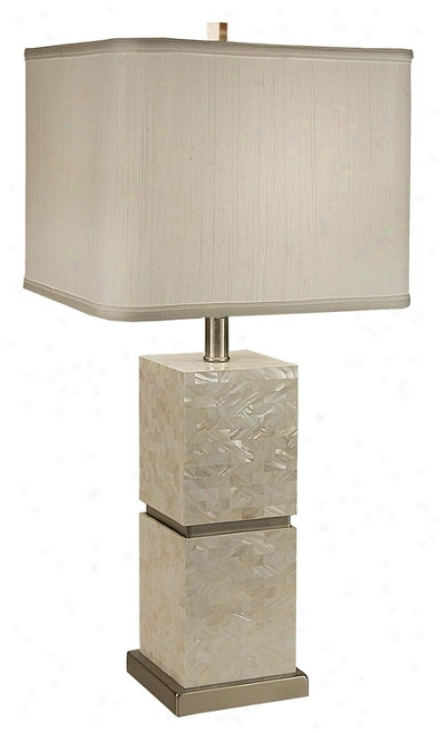 Thumprints Seaside With Whute Four-sided figure  Shade Table Lamp (m6967)
