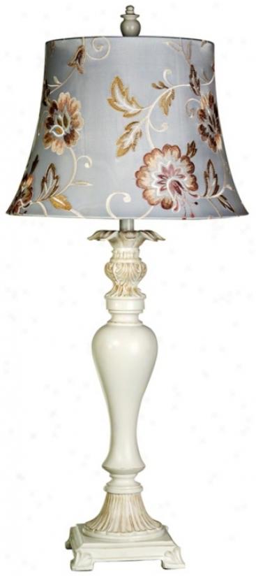 Loud noise Bay White Finish Candlestick Table Lamp (u0078)