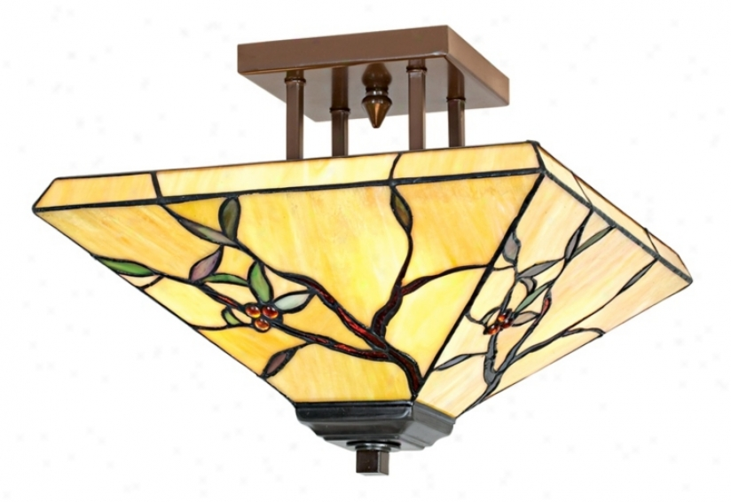 "Tiffany Mission Olive Leaf 14"" Spacious Ceiling Light Fixture (01904)"