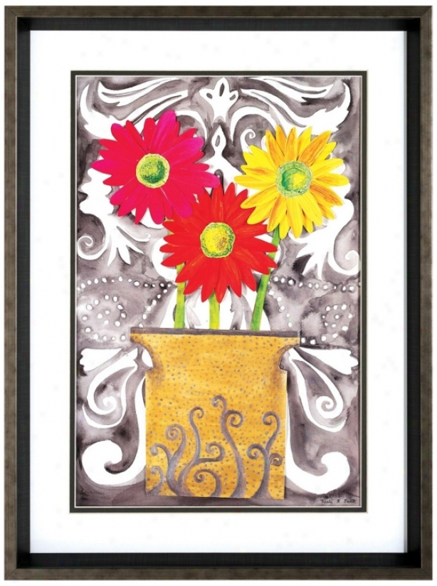 "Tin Flowers 24"" High Framed Floral Wall Art Print (v6597)"