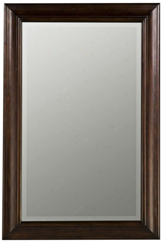 "Tobacco Finish Beveled Rectangular 36"" High Wall Mirror (h9771)"