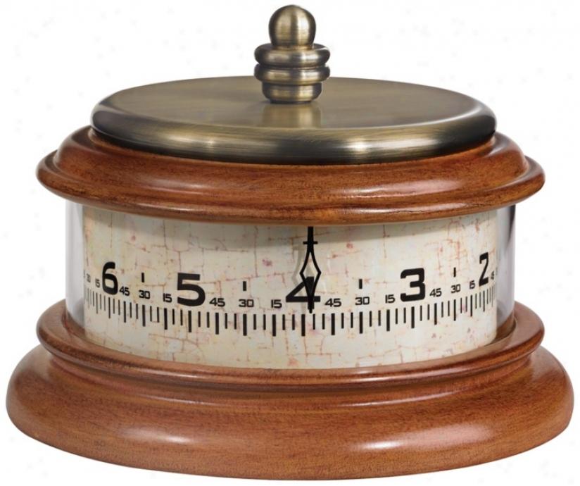 """Tolland 7 1/2"""" Wide Walnut Finish Bulova Tabletop Clock (v9812)"""