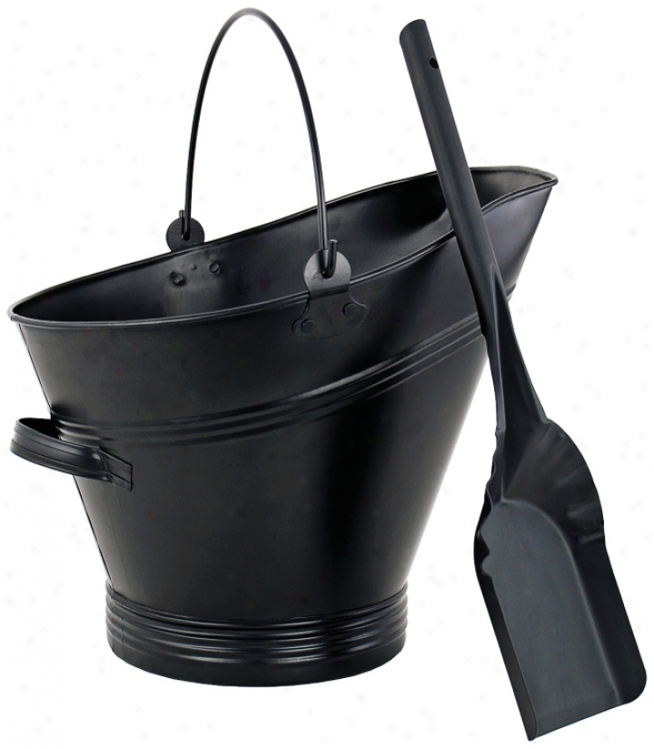 Traditional Black Coal Hod With Scoop (u9063)