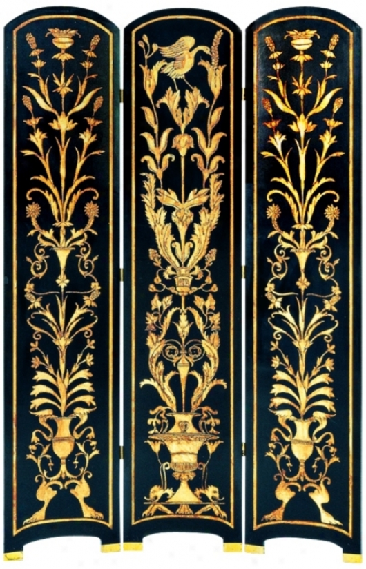 Traditional Black With Gold Hand Painted Screen (g7462)