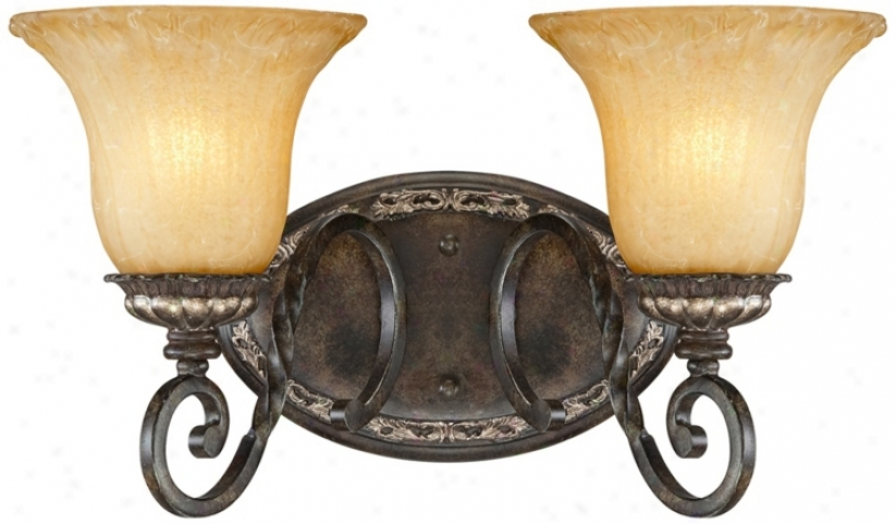 "Traditional Bronze And Gold 16"" Wide Bath Light (u5790)"