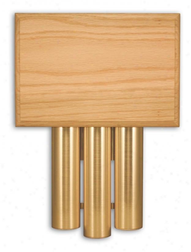 Traditional Golden Oak Satin Brass Tube Door Chime (k6213)