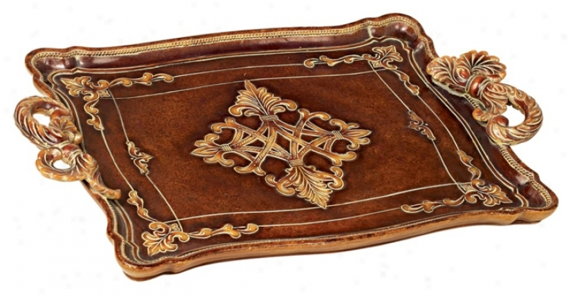 Traditional Serving Tray With Pull Style Handles (89499)