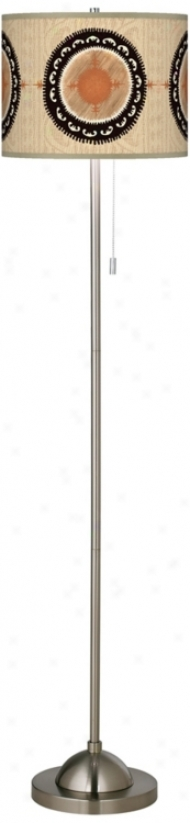 Travelers Compass Brushed Nickel Contemporary Floor Lamp (99185-u4667)