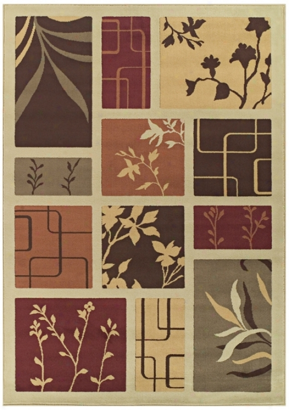 Tremont Collection Foliage Screens Ivory 3x5 Area Rug (n4292)