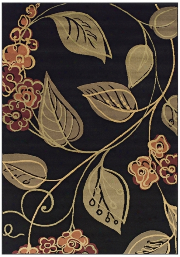 Tremont Ckllection Swerve Floral Black 8x10 Area Rug (n0774)