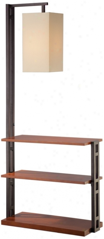 Triple Shelf Floor Lamp With Beige Thread of flax Shade (r2598)