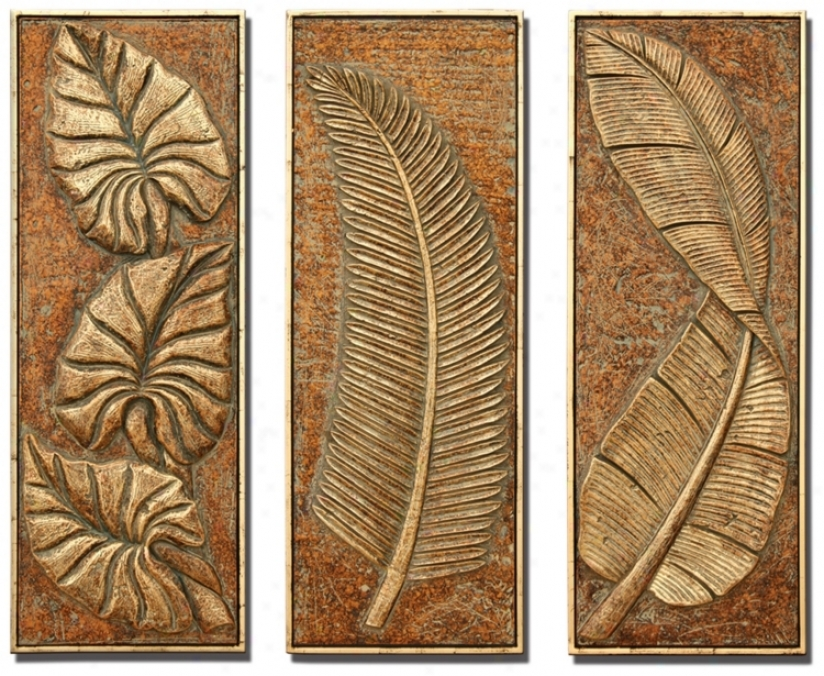 Tropical Ferns Set Of 3 Decorative Wal Art Panels (m0487)