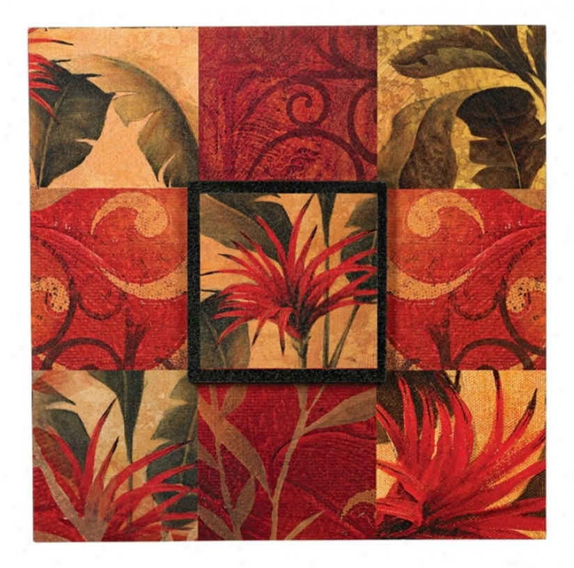 "Tropical Floral Collage I 20"" Square Wall Art (k0351)"