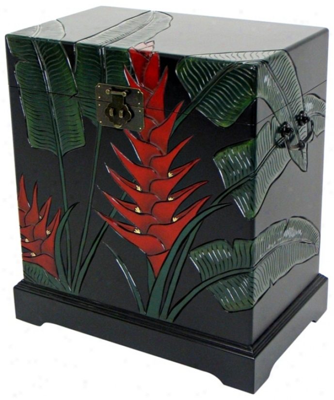 Troopical Heliconia Flower Carved Storage Trunk (h5495)