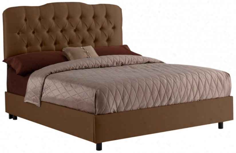Tufted King Bed In Shantung Chocolate (p2658)